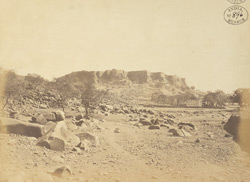 Distant view of the south front of Gwalior Fort